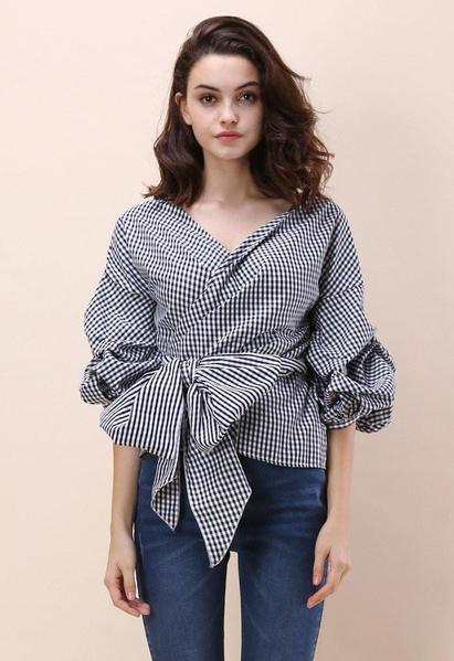 Puff Sleeve Summer Off Shoulder Blouse Checkered Top