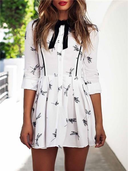 Katie Dragonfly Print White Mini Dress