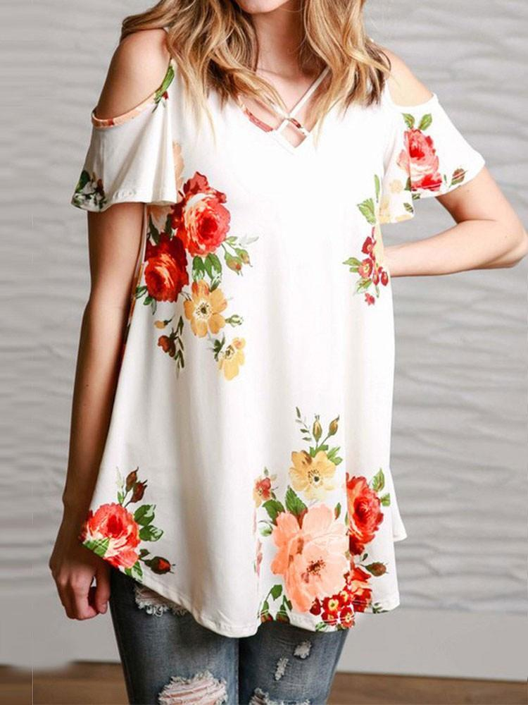 Sexy Floral V Neck T Shirt Cold Shoulder Vintage Blouse
