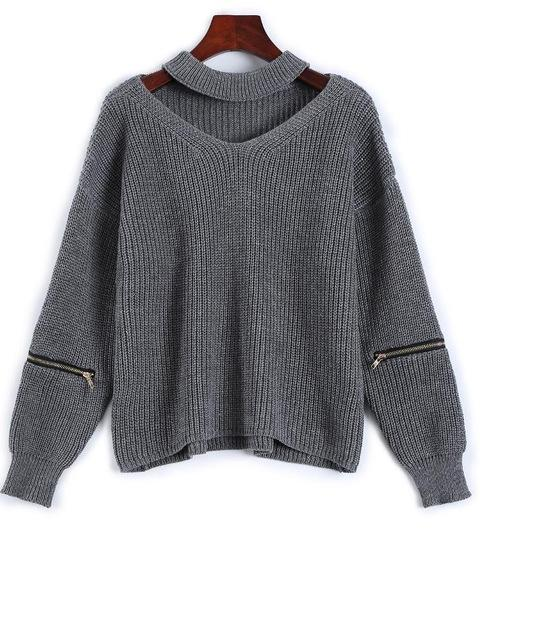 Arah Chunky Cut-Out Knitted Sweater Choker Pullover
