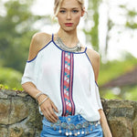 Shantai Boho Tribal Print Cold Shoulder Blouse