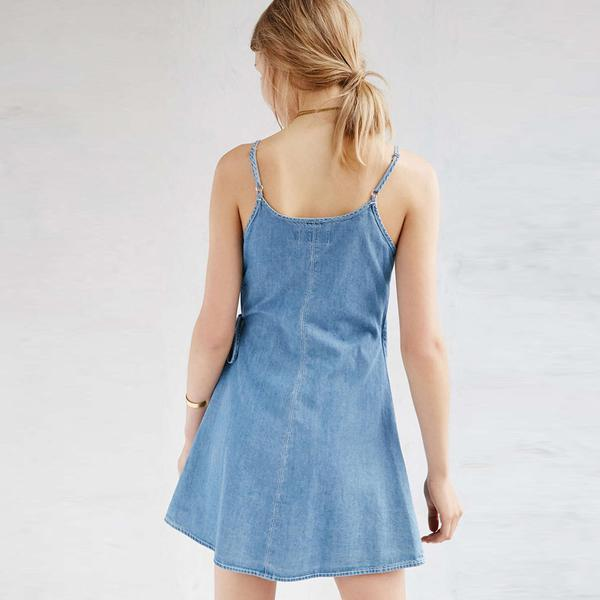 Blue Denim Pixie Wrap Dress
