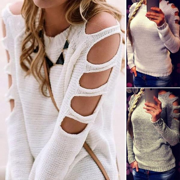 Liz Cut-out Off Shoulder Knit Pullover Top