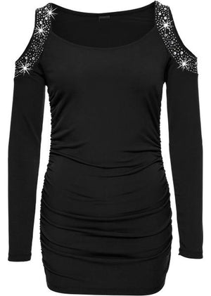 Rhinestones Cut-Out Cold Shoulder Long Sleeves Top