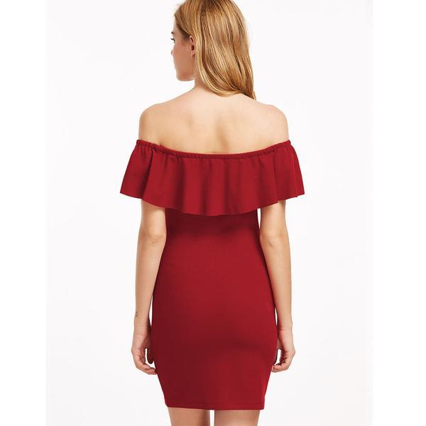 Off-Shoulder Ruffled Vintage Bodycon Rose Dress