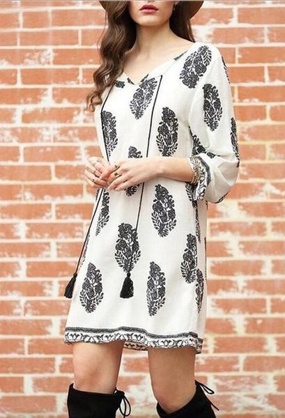 Alex Leaf Print Boho 3/4 Sleeve Mini Dress