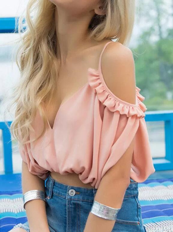 Cold Shoulder Cut-Out Ruffle Pink Chiffon Blouse