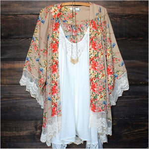 Rina Kimono Lace Trim Cover-Up Cardigan