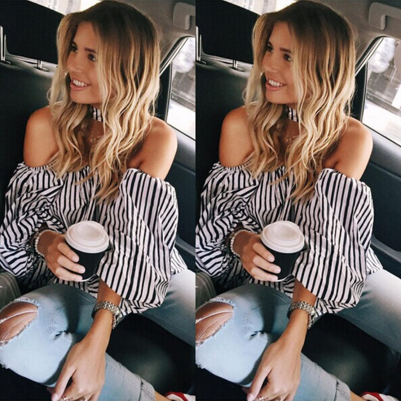 Stripe Off Shoulder Sexy Shirt Blouse