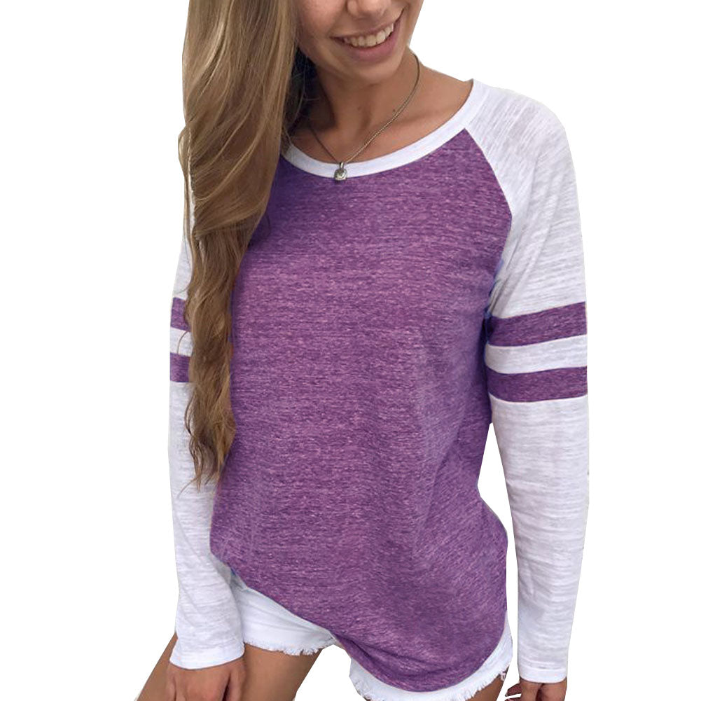 Striped Baseball Long Sleeve T-Shirt Tee Top