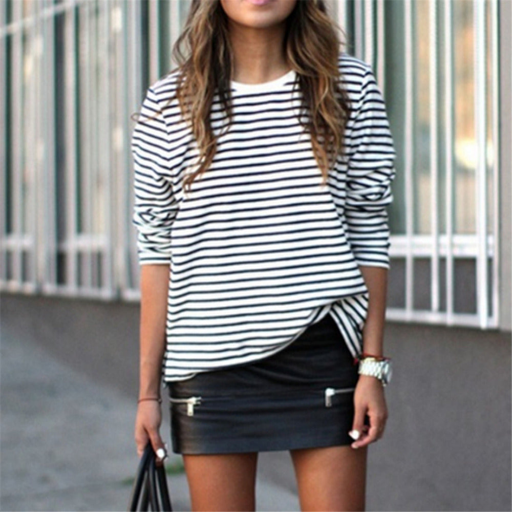 Rosalie Long Sleeve Striped Blouse Casual Top