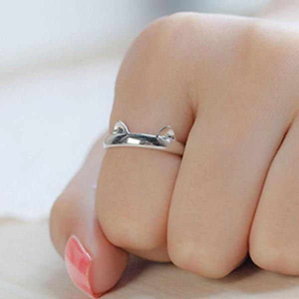Adjustable Kitten Ears Silver Plated Cat Ring