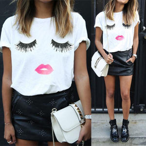Harajuku Kawaii Lashes Lip Basic Tee