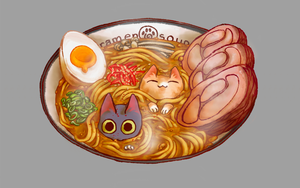 A drawing of a bowl of ramen soup by Erika, find this image on our famous drawstring backpacks.
