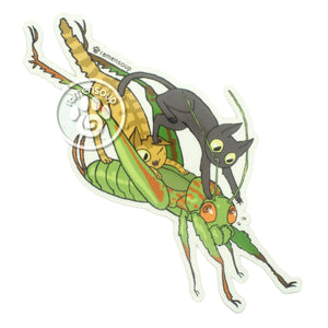 Jack and Mochi ride the grasshopper sticker