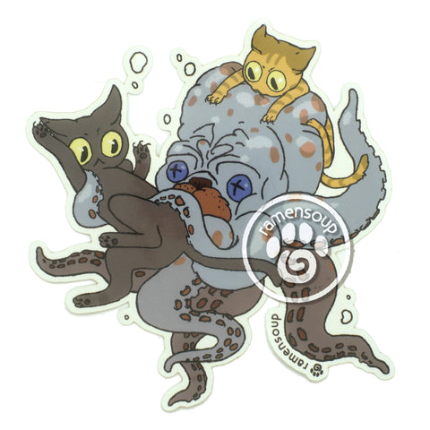 Jack and Mochi ride an octopus sticker