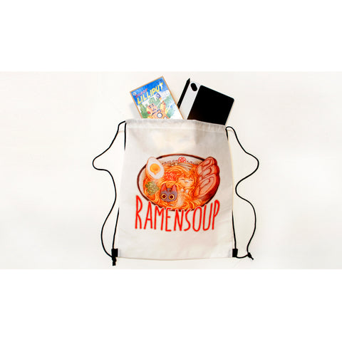 Jack and Mochi ramen bowl drawstring backpack