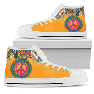 Peace Handcrafted White Sole High Top Shoes
