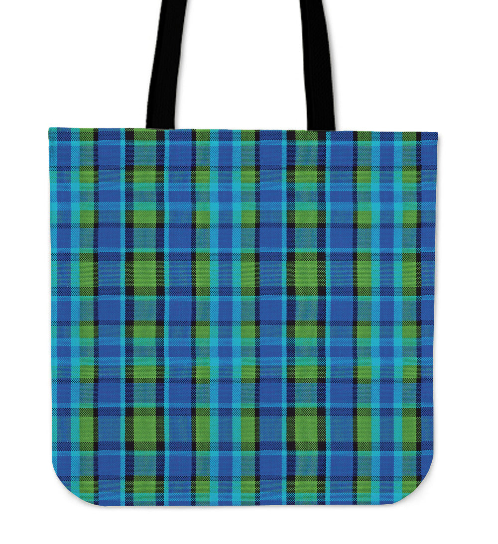 Retro Blue Plaid Tote Bag
