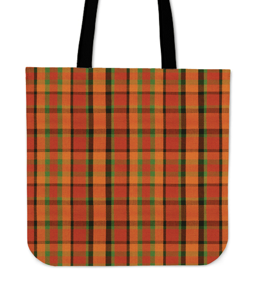 Retro Orange Plaid Tote Bag