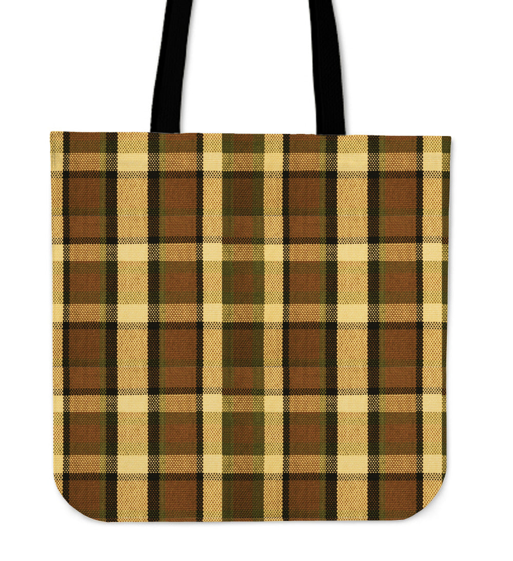 Retro Brown Plaid Tote Bag