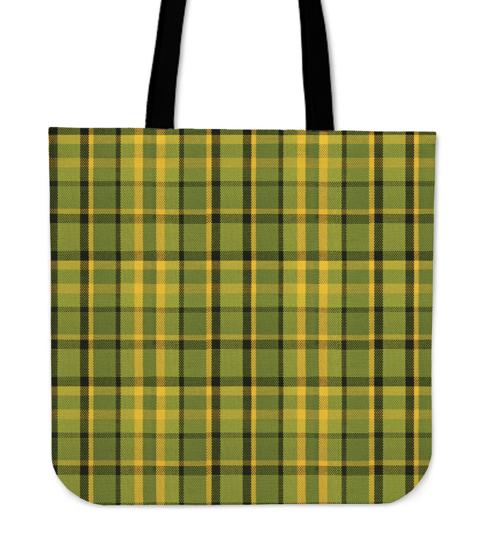Retro Green Plaid Tote Bag