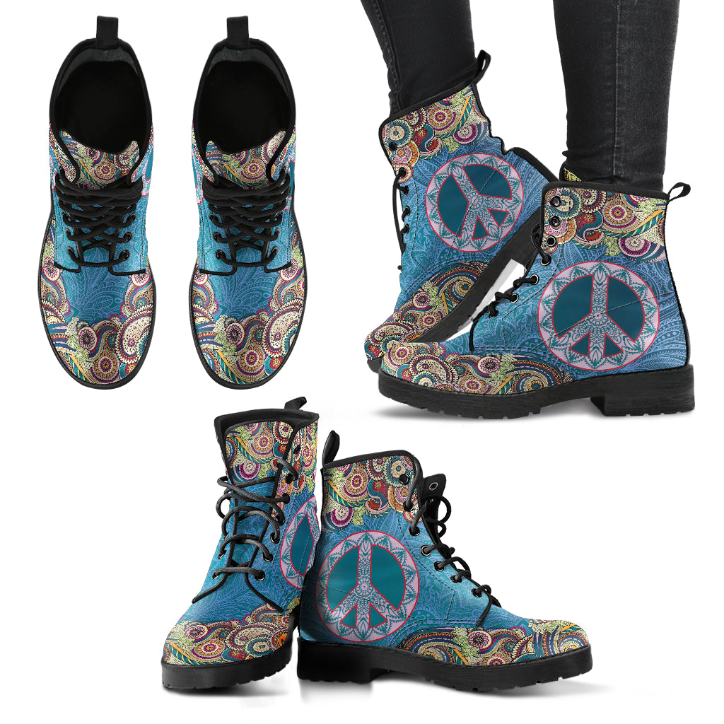 Mandala Peace Women's Leather Boots