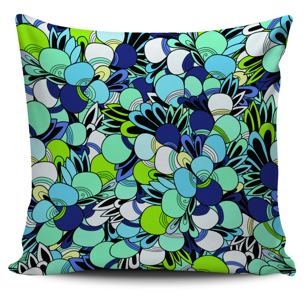 Funky Patterns in Blues - Single Sided Pillow Cover