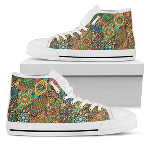Diamond Mandala P2 - Women's High Top Shoes (White)