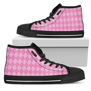 Pink Argyle Womens High Top Shoes