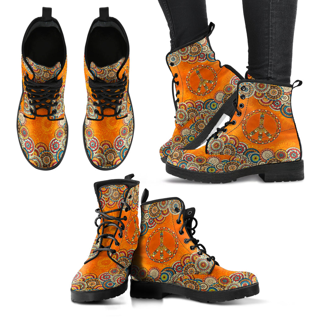 Orange Peace Mandala Handcrafted Boots