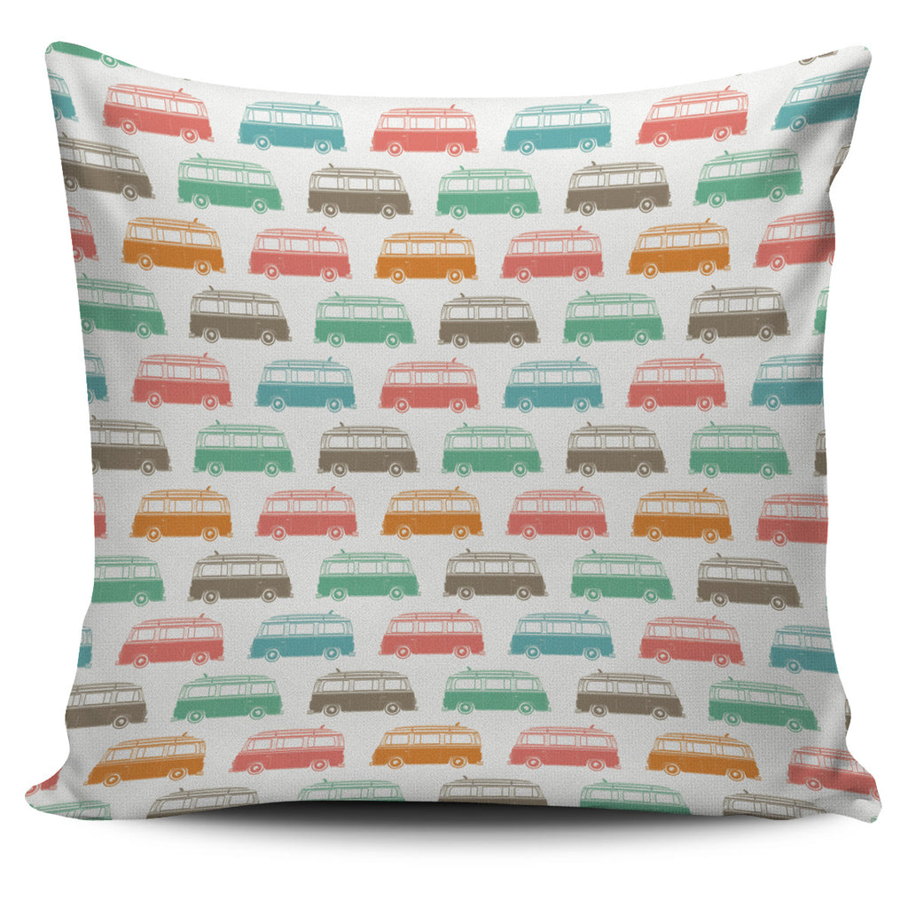 White Surf Bus Caravan Pillow Cover