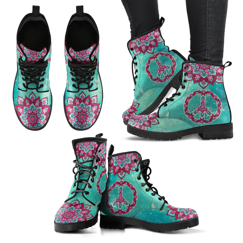 Peace Mandala Handcrafted Boots