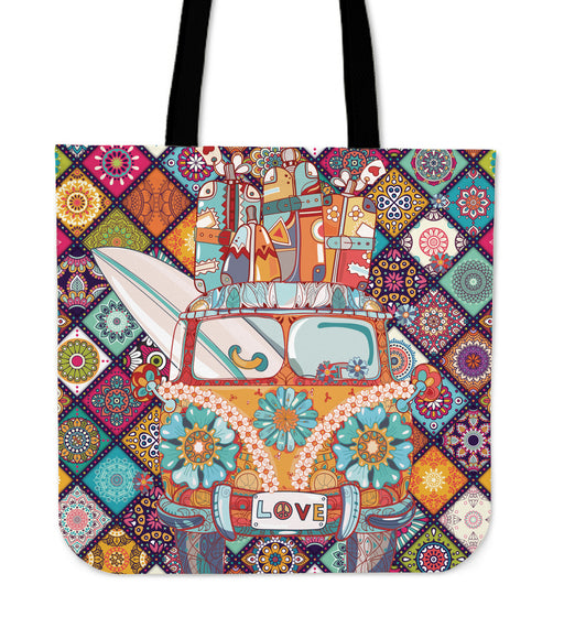 Patchwork Peace Bus tote bag