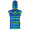 Retro Blue Plaid Premium Sleeveless Zip Hoodie