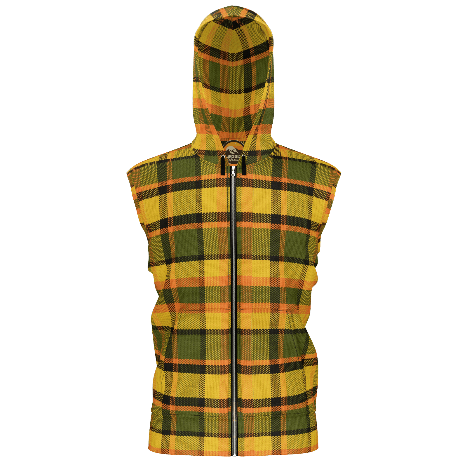 Retro Yellow Plaid Sleeveless Zip Hoodie