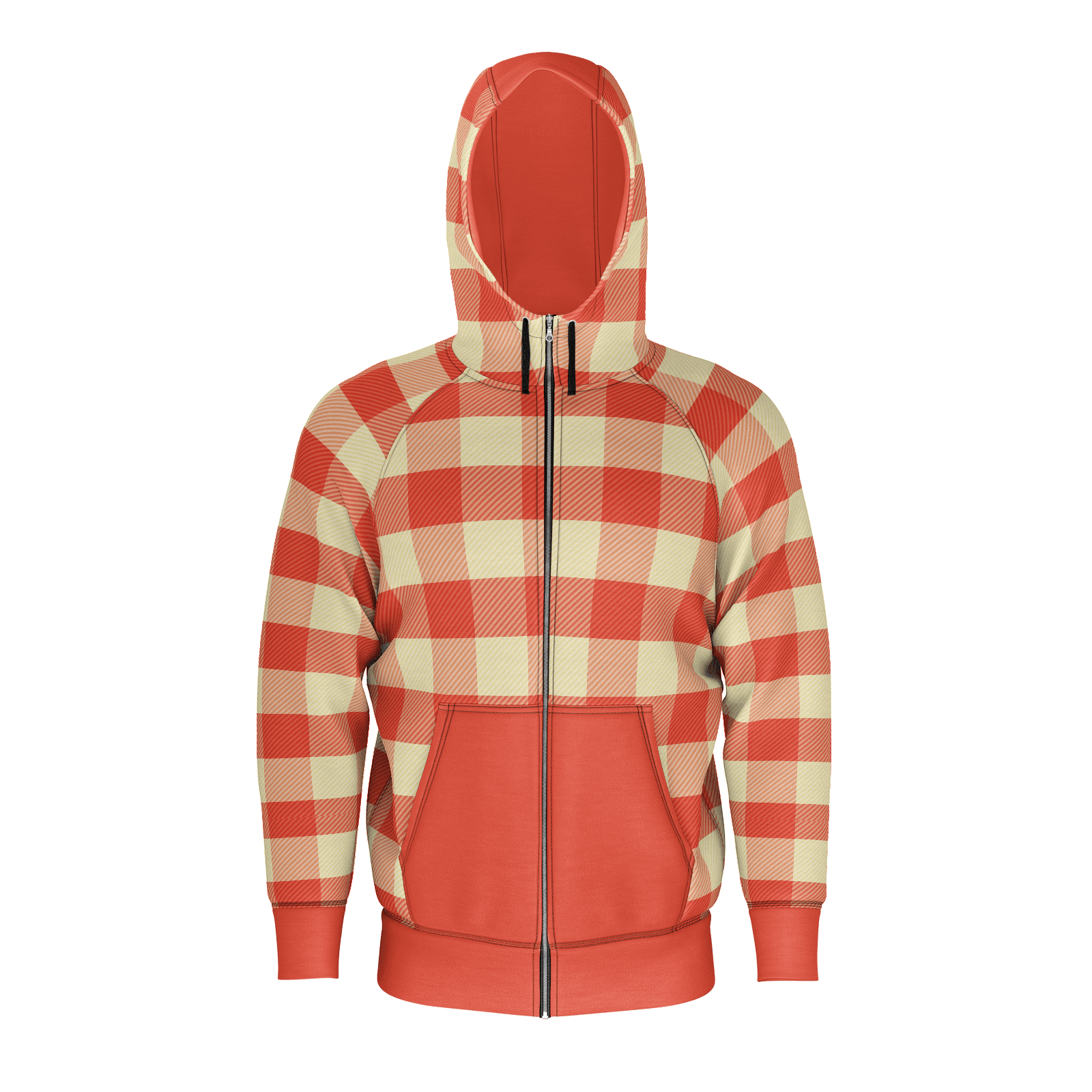 Vintage Red Plaid Zip RPET Hoodie