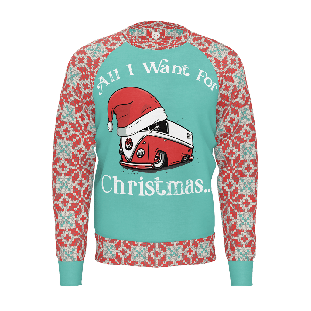 All I Want For Christmas Mens RPET Sweater Mint