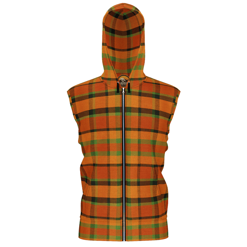 Retro Orange Plaid Premium Sleeveless Zip Hoodie