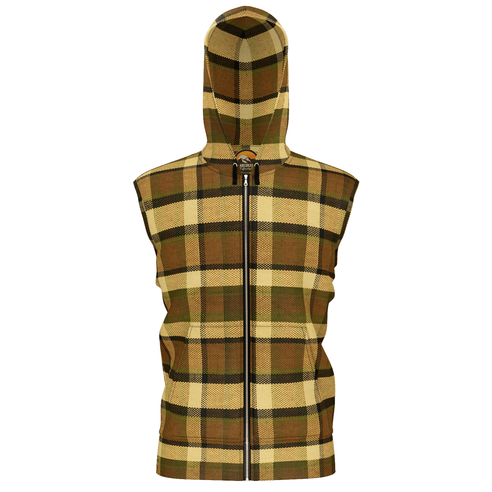 Retro Brown Plaid Sleeveless Zip Hoodie