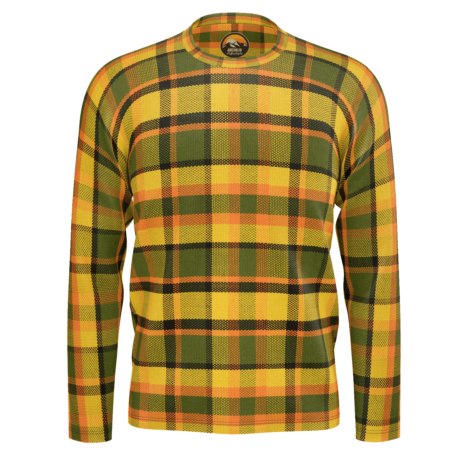 Retro Yellow Plaid Long Sleeve Jersey Cotton