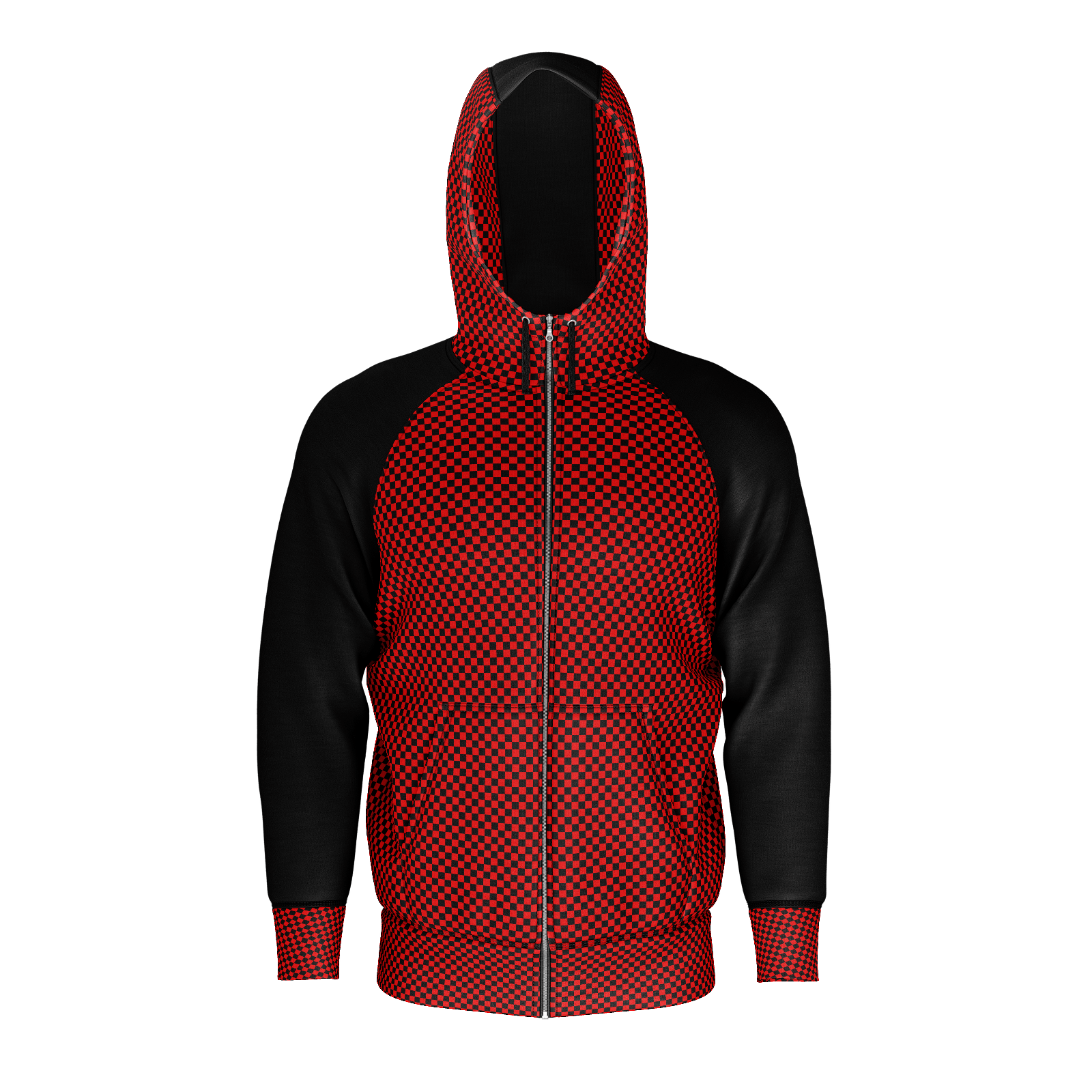 Red Checkers Zip Hoodie