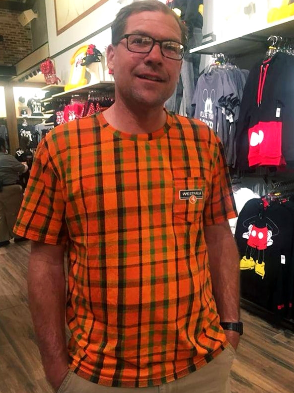 Westfalia Orange Plaid Pocket Tee
