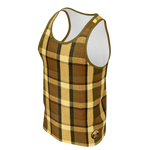 Retro Brown Plaid Men's Tank Top