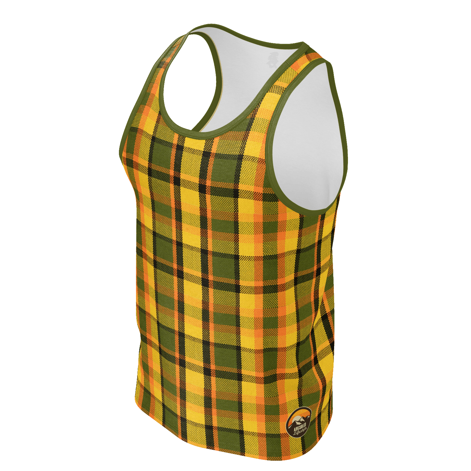 Retro Yellow Plaid Men's Tank Top