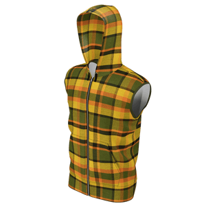 Retro Yellow Plaid Men's Sleeveless Zip Hoodie