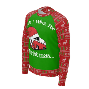 All I Want For Christmas Mens RPET Sweater Green