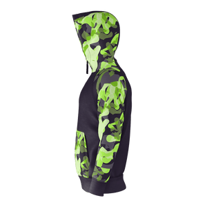 Electric Green Camo Zip Hoodie