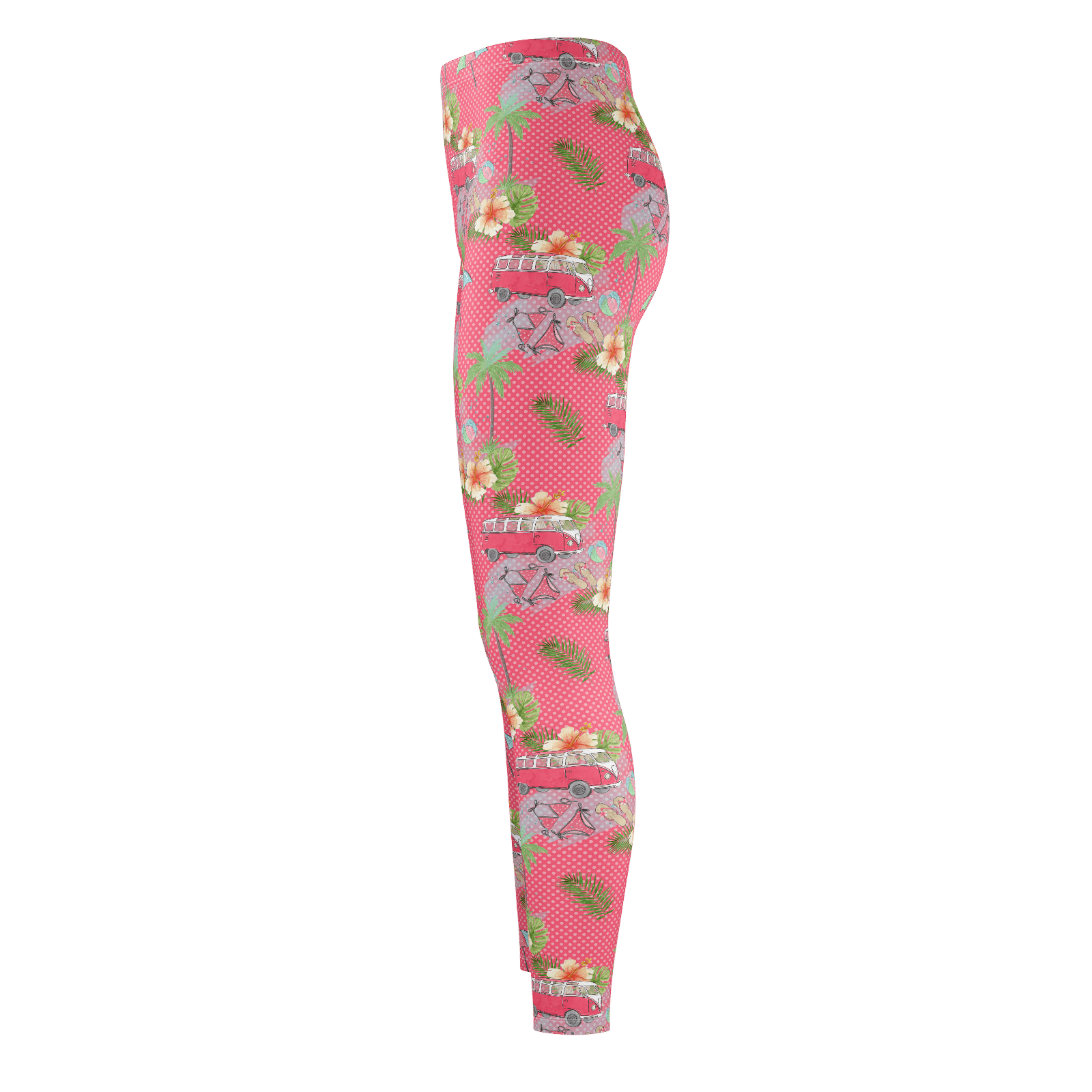 """Beach Kombi"" Pink Women's Recycled Leggings"