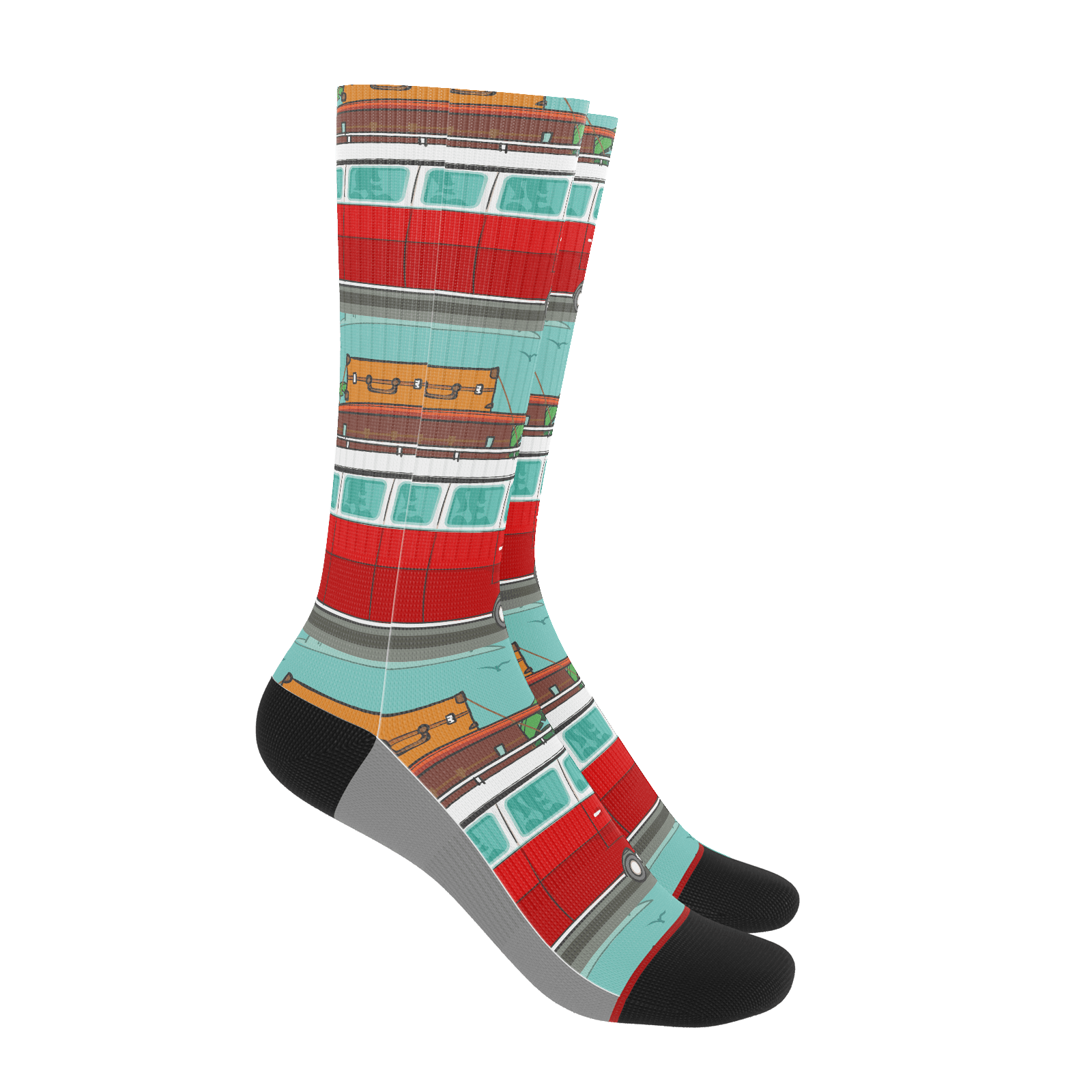 Red Surf Bus Socks